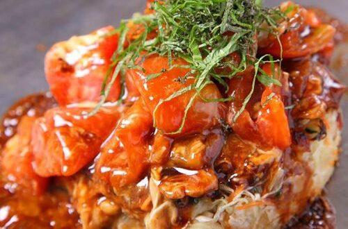 トマトお好み焼き こぼれモッツァレラチーズ_20170906
